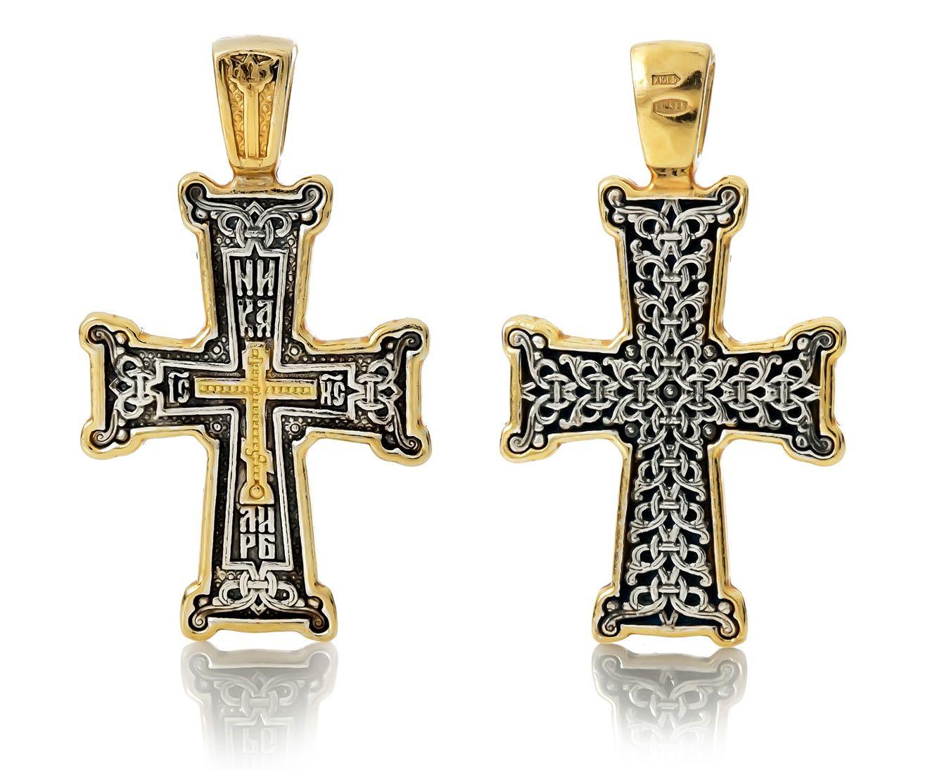 серебряное крестик с позолотой